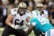 Sep 30, 2013; New Orleans, LA, USA; New Orleans Saints tackle Zach Strief (64) during their game against the Miami Dolphins at the Mercedes-Benz Superdome. Mandatory Credit: Chuck Cook-USA TODAY Sports