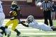 Sep 14, 2013; Ann Arbor, MI, USA; Michigan Wolverines running back Fitzgerald Toussaint (28) runs the ball against the Akron Zips at Michigan Stadium. Mandatory Credit: Rick Osentoski-USA TODAY Sports