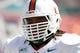 Sep 28, 2013; Tampa, FL, USA; Miami Hurricanes defensive lineman Luther Robinson (93) against the South Florida Bulls at Raymond James Stadium. Mandatory Credit: Kim Klement-USA TODAY Sports