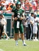 Sep 28, 2013; Tampa, FL, USA; South Florida Bulls quarterback Steven Bench (2) against the Miami Hurricanes during the first half at Raymond James Stadium. Mandatory Credit: Kim Klement-USA TODAY Sports
