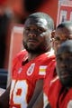 Sep 29, 2013; Kansas City, MO, USA; Kansas City Chiefs tackle Donald Stephenson (79) on the sidelines in the second half against the New York Giants at Arrowhead Stadium. Kansas City won the game 31-7. Mandatory Credit: John Rieger-USA TODAY Sports