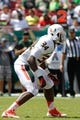 Sep 28, 2013; Tampa, FL, USA; Miami Hurricanes linebacker Thurston Armbrister (34) against the South Florida Bulls during the second half at Raymond James Stadium. Miami Hurricanes defeated the South Florida Bulls 49-21. Mandatory Credit: Kim Klement-USA TODAY Sports