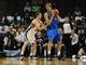 Oct 9, 2013; Memphis, TN, USA; Dallas Mavericks power forward Dirk Nowitzki (41) posts up against Memphis Grizzlies power forward Jon Leuer (30) at FedExForum. Mandatory Credit: Justin Ford-USA TODAY Sports