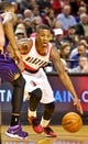 Oct 9, 2013; Portland, OR, USA; Portland Trail Blazers point guard Damian Lillard (0) drives to the basket against the Phoenix Suns at the Moda Center. Mandatory Credit: Craig Mitchelldyer-USA TODAY Sports