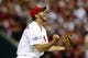 Oct 9, 2013; St. Louis, MO, USA; St. Louis Cardinals starting pitcher Adam Wainwright (50) reacts after defeating the Pittsburgh Pirates in game five of the National League divisional series playoff baseball game at Busch Stadium. The Cardinals won 6-1. Mandatory Credit: Jeff Curry-USA TODAY Sports