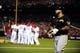 Oct 9, 2013; St. Louis, MO, USA; Pittsburgh Pirates third baseman Pedro Alvarez (24) reacts after he strikes out to end game five of the National League divisional series playoff baseball game against the St. Louis Cardinals at Busch Stadium. The Cardinals won 6-1. Mandatory Credit: Jeff Curry-USA TODAY Sports