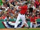 Oct 4, 2013; Boston, MA, USA; Boston Red Sox shortstop Stephen Drew (7) bats during the second inning in game one of the American League divisional series playoff baseball game against the Tampa Bay Rays at Fenway Park. Mandatory Credit: Bob DeChiara-USA TODAY Sports