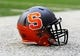 Oct 5, 2013; Syracuse, NY, USA; General view of a Syracuse Orange helmet prior to the game against the Clemson Tigers at the Carrier Dome.  Mandatory Credit: Rich Barnes-USA TODAY Sports