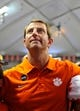 Oct 5, 2013; Syracuse, NY, USA; Clemson Tigers head coach Dabo Swinney looks into the stands following the game against the Syracuse Orange at the Carrier Dome.  Clemson defeated Syracuse 49-14.  Mandatory Credit: Rich Barnes-USA TODAY Sports