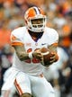 Oct 5, 2013; Syracuse, NY, USA; Clemson Tigers quarterback Tajh Boyd (10) prepares to hand the ball off during the second quarter against the Syracuse Orange at the Carrier Dome.  Clemson defeated Syracuse 49-14.  Mandatory Credit: Rich Barnes-USA TODAY Sports