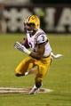 Oct 5, 2013; Starkville, MS, USA; LSU Tigers wide receiver Odell Beckham (3) advances the ball during the game against the Mississippi State Bulldogs at Davis Wade Stadium.  LSU Tigers defeated the Mississippi State Bulldogs 59-26.  Mandatory Credit: Spruce Derden-USA TODAY Sports