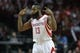 Oct 5, 2013; Houston, TX, USA; Houston Rockets shooting guard James Harden (13) reacts after a shot against the New Orleans Pelicans at Toyota Center. Mandatory Credit: Troy Taormina-USA TODAY Sports