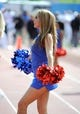 Oct 5, 2013; Lawrence, KS, USA; A Kansas Jayhawks cheerleader performs against the Texas Tech Red Raiders at Memorial Stadium. Texas Tech won the game 54-16. Mandatory Credit: John Rieger-USA TODAY Sports