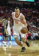 Oct 5, 2013; Houston, TX, USA; Houston Rockets power forward Donatas Motiejunas (20) drives the ball during the first quarter against the New Orleans Pelicans at Toyota Center. Mandatory Credit: Troy Taormina-USA TODAY Sports