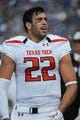 Oct 5, 2013; Lawrence, KS, USA; Texas Tech Red Raiders tight end Jace Amaro (22) on the sidelines against the Kansas Jayhawks in the first half at Memorial Stadium. Texas Tech won the game 54-16. Mandatory Credit: John Rieger-USA TODAY Sports