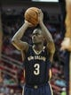 Oct 5, 2013; Houston, TX, USA; New Orleans Pelicans shooting guard Anthony Morrow (3) attempts a free throw during the second quarter against the Houston Rockets at Toyota Center. Mandatory Credit: Troy Taormina-USA TODAY Sports