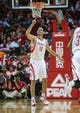 Oct 5, 2013; Houston, TX, USA; Houston Rockets small forward Omri Casspi (18) reacts after a play during the third quarter against the New Orleans Pelicans at Toyota Center. Mandatory Credit: Troy Taormina-USA TODAY Sports