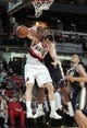 Oct 11, 2013; Boise, ID, USA; Utah Jazz small forward Mike Harris (33) looses the ball trying to dunk over Portland Trail Blazers small forward Victor Claver (18) in the fourth quarter  at CenturyLink Arena. Portland defeated Utah 96-86.  Mandatory Credit: Brian Losness-USA TODAY Sports