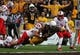 Oct 12, 2013; Laramie, WY, USA; Laramie, WY, USA; Wyoming Cowboys running back Shaun Wick (21) extends the ball for a touchdown while tackled by New Mexico Lobos linebacker Dakota Cox (49) during the second quarter at War Memorial Stadium. Mandatory Credit: Troy Babbitt-USA TODAY Sports