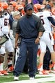 Oct 12, 2013; College Park, MD, USA; Virginia Cavaliers head coach Mike London walks the sidelines during the game against the Maryland Terrapins at Byrd Stadium. Mandatory Credit: Mitch Stringer-USA TODAY Sports