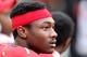 Oct 12, 2013; College Park, MD, USA; Maryland Terrapins wide receiver Stefon Diggs (1) prior to the game against the Virginia Cavaliers at Byrd Stadium. Mandatory Credit: Mitch Stringer-USA TODAY Sports