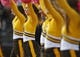 Oct 12, 2013; Laramie, WY, USA; Laramie, WY, USA; Wyoming Cowboys cheerleaders perform during a game against the New Mexico Lobos during the fourth quarter at War Memorial Stadium. The Cowboys beat the Lobos 38-31. Mandatory Credit: Troy Babbitt-USA TODAY Sports