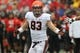 Oct 12, 2013; College Park, MD, USA; Virginia Cavaliers tight end Jake McGee (83) reacts after his second quarter touchdown catch against the Maryland Terrapins at Byrd Stadium. Mandatory Credit: Mitch Stringer-USA TODAY Sports