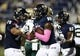 Oct 12, 2013; Miami, FL, USA;  Florida International Panthers tight end Ya'Keem Griner (80) reacts with offensive tackle Aaron Nielsen (70) after his touchdown catch against the Alabama-Birmingham Blazers in the first quarter at FIU Stadium. Mandatory Credit: Robert Mayer-USA TODAY Sports