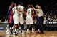 Oct 12, 2013; Brooklyn, NY, USA; Brooklyn Nets and Detroit Pistons players argue during the first half of the preseason game at Barclays Center. Mandatory Credit: Joe Camporeale-USA TODAY Sports