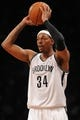 Oct 12, 2013; Brooklyn, NY, USA; Brooklyn Nets small forward Paul Pierce (34) looks for a pass option against the Detroit Pistons during the first half of the preseason game at Barclays Center. Mandatory Credit: Joe Camporeale-USA TODAY Sports