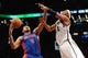 Oct 12, 2013; Brooklyn, NY, USA; Detroit Pistons power forward Tony Mitchell (9) defends against Brooklyn Nets small forward Paul Pierce (34) during the first half of the preseason game at Barclays Center. Mandatory Credit: Joe Camporeale-USA TODAY Sports