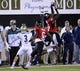 Oct 12, 2013; DeKalb, IL, USA; Northern Illinois Huskies safety Jimmie Ward (15) intercepts a pass in front of Akron Zips wide receiver L.T. Smith (3) during the second half at Huskie Stadium. Northern Illinois defeats Akron 27-20. Mandatory Credit: Mike DiNovo-USA TODAY Sports