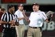 Oct 12, 2013; Starkville, MS, USA; Mississippi State Bulldogs head coach Dan Mullen pleads his case to a referee about a call during the game against the Bowling Green Falcons at Davis Wade Stadium. Mandatory Credit: Marvin Gentry-USA TODAY Sports