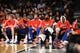 Oct 12, 2013; Brooklyn, NY, USA; Detroit Pistons look on against the Brooklyn Nets during the second half of the preseason game at Barclays Center. The Pistons won the game 99-88 Mandatory Credit: Joe Camporeale-USA TODAY Sports
