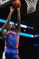Oct 12, 2013; Brooklyn, NY, USA; Detroit Pistons shooting guard Kentavious Caldwell-Pope (5) puts up a layup against the Brooklyn Nets during the second half of the preseason game at Barclays Center. The Pistons won the game 99-88 Mandatory Credit: Joe Camporeale-USA TODAY Sports