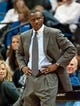 Oct 12, 2013; Minneapolis, MN, USA; Toronto Raptors head coach Dwane Casey looks on in the fourth quarter against the Minnesota Timberwolves at Target Center. Raptors won 104-97. Mandatory Credit: Greg Smith-USA TODAY Sports