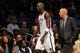 Oct 12, 2013; Brooklyn, NY, USA; Brooklyn Nets head coach Jason Kidd and Brooklyn Nets power forward Kevin Garnett (2) walk to the bench during the first half of the preseason game against the Detroit Pistons at Barclays Center. Mandatory Credit: Joe Camporeale-USA TODAY Sports