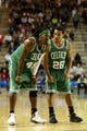 Oct 11, 2013; Newark, DE, USA; Boston Celtics forward Gerald Wallace (45) talks with guard Phil Pressey (26) during the fourth quarter against the Philadelphia 76ers at Bob Carpenter Sports Convocation Center. The Sixers defeated the Celtics 97-85. Mandatory Credit: Howard Smith-USA TODAY Sports