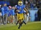 October 12, 2013; Pasadena, CA, USA; UCLA Bruins safety Randall Goforth (3) runs the ball after intercepting a pass against the California Golden Bears during the second half at the Rose Bowl. Mandatory Credit: Gary A. Vasquez-USA TODAY Sports