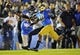 October 12, 2013; Pasadena, CA, USA; California Golden Bears wide receiver James Grisom (85) misses catching a pass  against the UCLA Bruins during the second half at the Rose Bowl. Mandatory Credit: Gary A. Vasquez-USA TODAY Sports