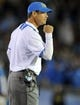 October 12, 2013; Pasadena, CA, USA; UCLA Bruins head coach Jim Mora reacts after the Bruins defense stops the California Golden Bears offense on fourth down during the second half at the Rose Bowl. Mandatory Credit: Gary A. Vasquez-USA TODAY Sports