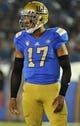 Oct 12, 2013; Pasadena, CA, USA; UCLA Bruins quarterback Brett Hundley (17) looks to the bench for a play during second quarter action against the Cal Golden Bears at Rose Bowl. Mandatory Credit: Robert Hanashiro-USA TODAY Sports