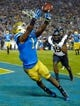Oct 12, 2013; Pasadena, CA, USA; UCLA Bruins wide receiver Shaquelle Evans (1) cannot catch a pass in the end zone against the California Golden Bears during fourth quarter action at Rose Bowl. The Bruins had to settle for a field goal and went on to a 36-10 win. Mandatory Credit: Robert Hanashiro-USA TODAY Sports