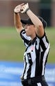 Sep 12, 2013; Ruston, LA, USA; C-USA official Sarah Thomas makes a call during the game between the Louisiana Tech Bulldogs and the Tulane Green Wave at Joe Aillet Stadium. Mandatory Credit: Chuck Cook-USA TODAY Sports