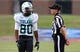 Sep 12, 2013; Ruston, LA, USA; Tulane Green Wave wide receiver Justyn Shackleford (80) talks to C-USA official Sarah Thomas during their game against the Louisiana Tech Bulldogs at Joe Aillet Stadium. Mandatory Credit: Chuck Cook-USA TODAY Sports