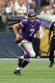 Sep 22, 2013; Minneapolis, MN, USA; Minnesota Vikings quarterback Christian Ponder (7) against the Cleveland Browns at Mall of America Field at H.H.H. Metrodome. The Browns defeated the Vikings 31-27. Mandatory Credit: Brace Hemmelgarn-USA TODAY Sports