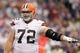 Sep 22, 2013; Minneapolis, MN, USA; Cleveland Browns offensive lineman Mitchell Schwartz (72) against the Minnesota Vikings at Mall of America Field at H.H.H. Metrodome. The Browns defeated the Vikings 31-27. Mandatory Credit: Brace Hemmelgarn-USA TODAY Sports