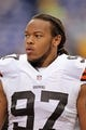 Sep 22, 2013; Minneapolis, MN, USA; Cleveland Browns linebacker Jabaal Sheard (97) looks on against the Minnesota Vikings at Mall of America Field at H.H.H. Metrodome. The Browns defeated the Vikings 31-27. Mandatory Credit: Brace Hemmelgarn-USA TODAY Sports