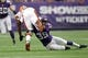 Sep 22, 2013; Minneapolis, MN, USA; Minnesota Vikings cornerback Marcus Sherels (35) tackles Cleveland Browns running back Chris Ogbonnaya (25) at Mall of America Field at H.H.H. Metrodome. The Browns defeated the Vikings 31-27. Mandatory Credit: Brace Hemmelgarn-USA TODAY Sports
