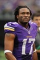 Sep 22, 2013; Minneapolis, MN, USA; Minnesota Vikings wide receiver Jarius Wright (17) looks on against the Cleveland Browns at Mall of America Field at H.H.H. Metrodome. The Browns defeated the Vikings 31-27. Mandatory Credit: Brace Hemmelgarn-USA TODAY Sports
